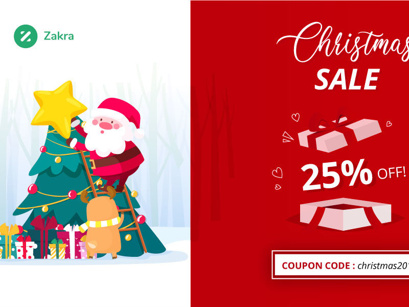 Zakra Christmas Sale 2019 – 25% Off on all our Premium Plans