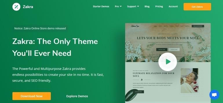 Zakra WordPress optimized theme