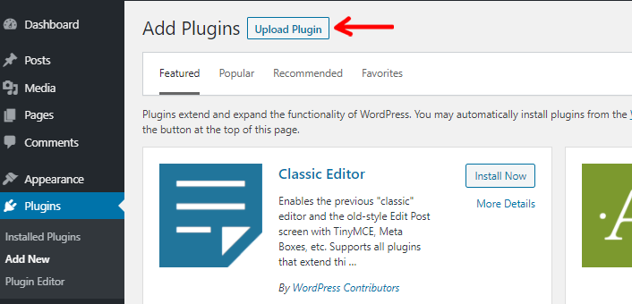 Upload Plugin Button