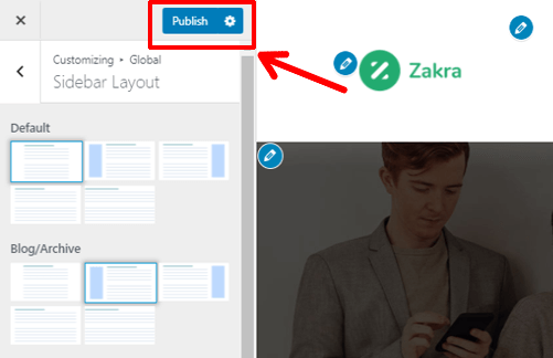Publishing-the-saved-changes after creating a custom sidebar