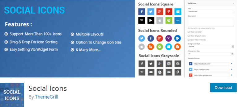 Social-Icons-themegrill plugin to create a new sidebar in WordPress