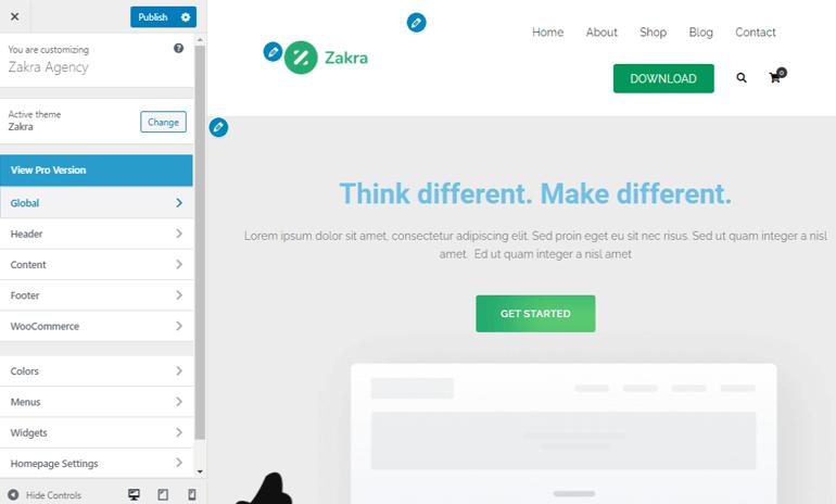 WordPress-customizer-page-in-Zakra-Theme