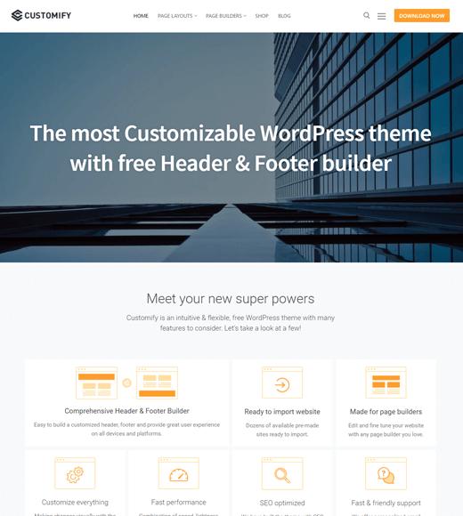 Customify-the best wordpress multipurpose theme