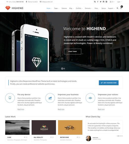 Highend-best WordPress multipurpose theme