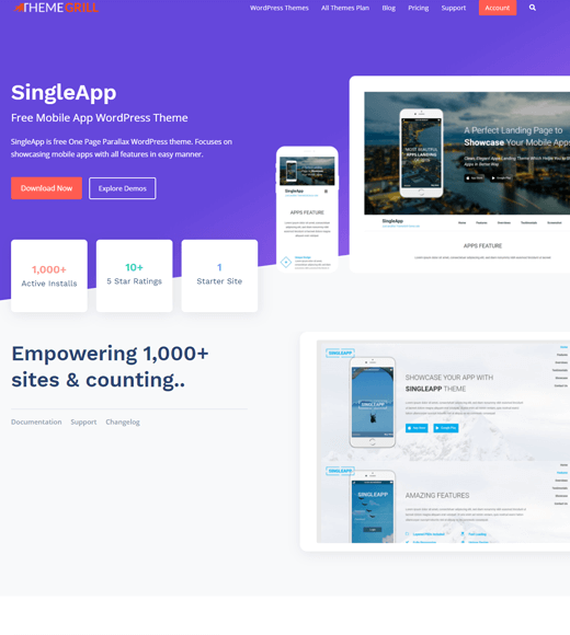 SingleApp-theme with multiple page layouts