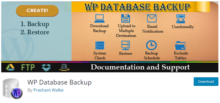 WP Database Backup WordPress Backup Plugin Free