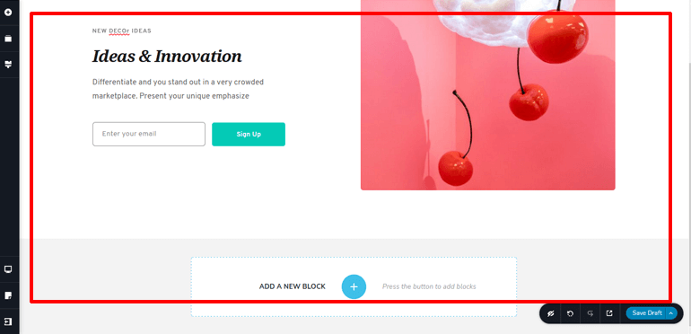 canvas-area for creating website using Brizy and Zakra