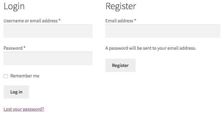 Default WooCommerce Registration and Login Form