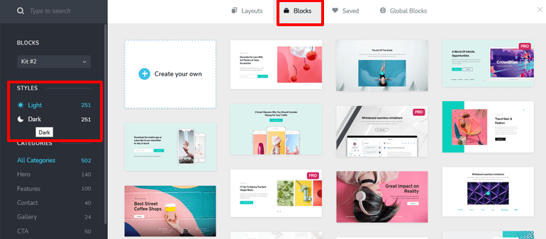 selecting-premade-templates-from-brizy-editor