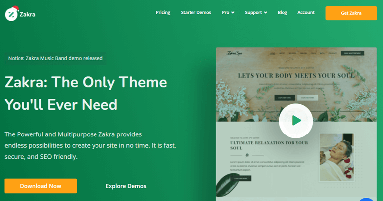 Zakra Theme for creating a website using Brizy Builder