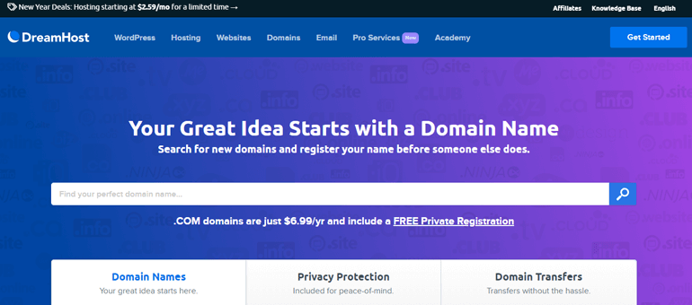 Dreamhost Domain Registration Site
