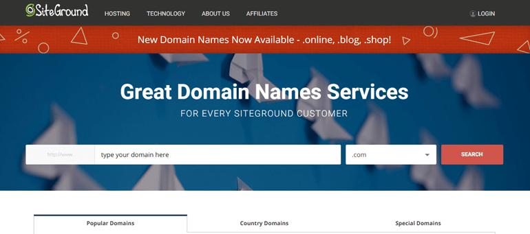 SiteGround for registering doamin