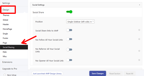 social-sharing-settings with amp plugin
