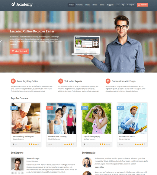 Academy Online Learning WordPress Theme