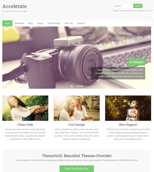 Accelerate free WordPress themes for freelancers