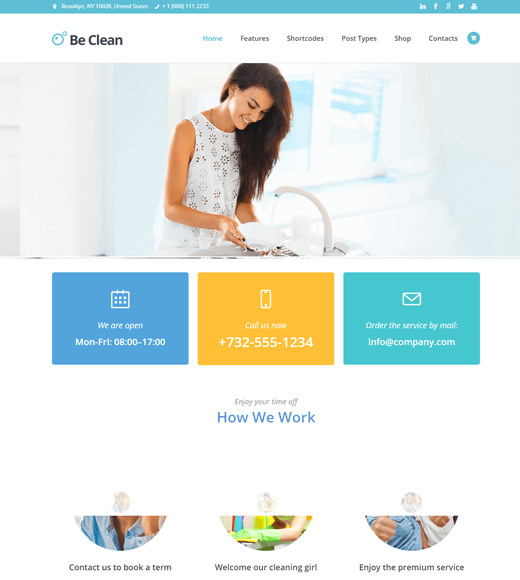 Be Clean WordPress Themes for Cleaning Services