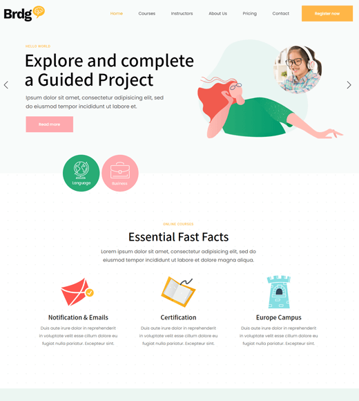 Bridge WordPress Themes for Online Courses