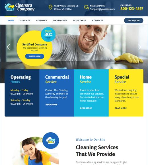 Cleanora Laundry Service WordPress Theme