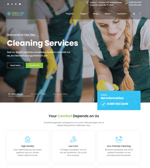 Clengo WordPress Themes for Cleaning Services