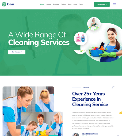 Klear Mopper Cleaning Company and Services WordPress Theme