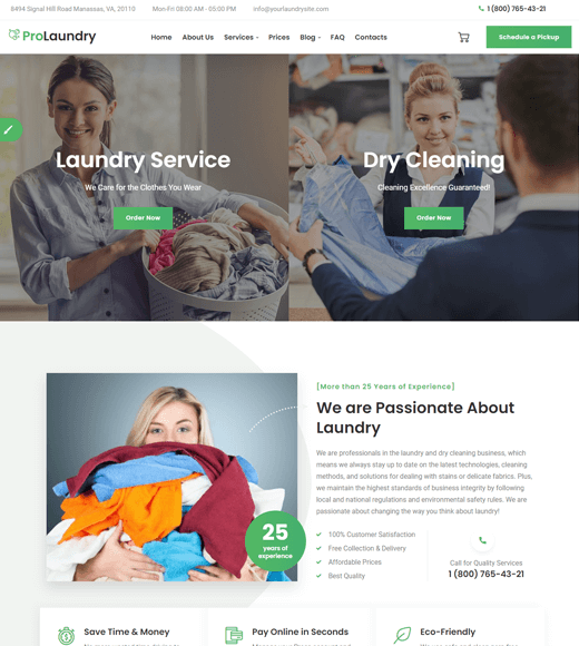 Laundry WordPress Themes for Cleaning Services