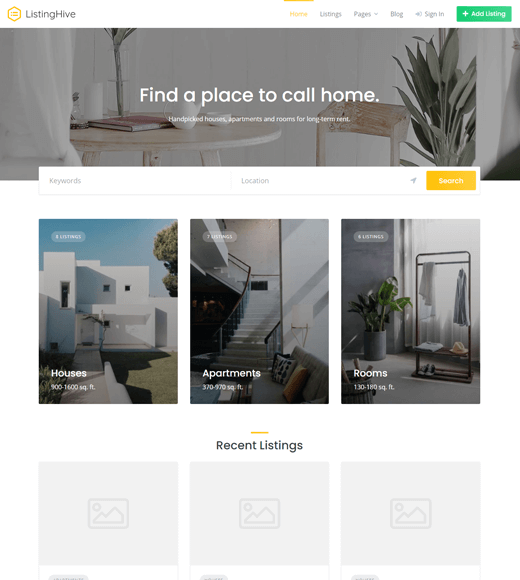 Listing Hive free job finder theme for WordPress