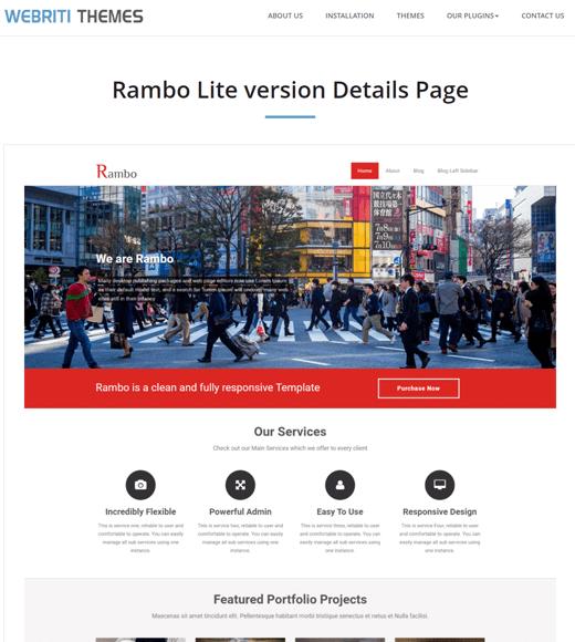 Rambo best free WordPress freelancer theme