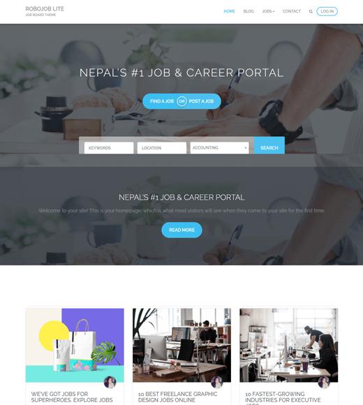 Robojob Lite free job portal theme for WordPress