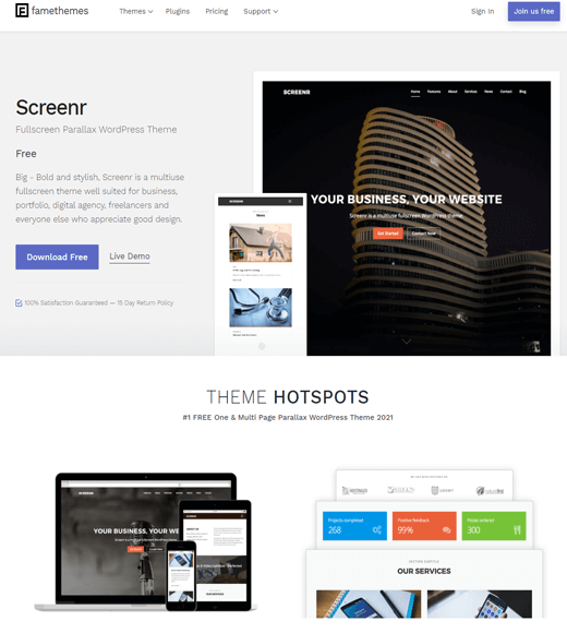 Screenr free WordPress themes for freelancers
