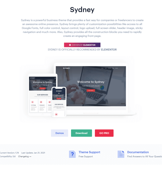 Sydney free WordPress themes for freelancers