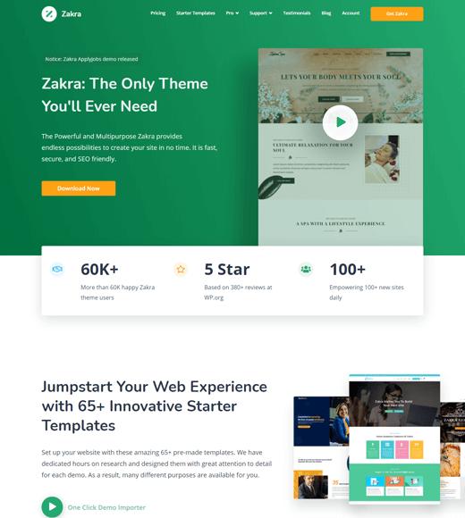 Zakra Theme as the best free job board WordPress theme