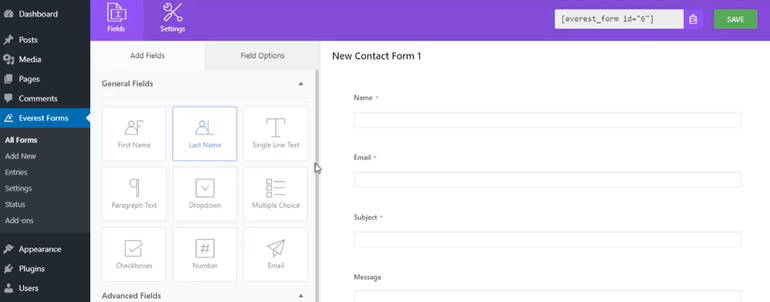 Everest Forms Editor Page