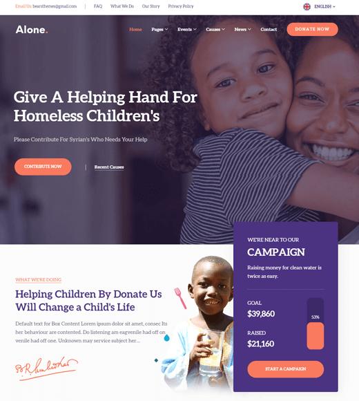 Alone Charity WordPress Theme