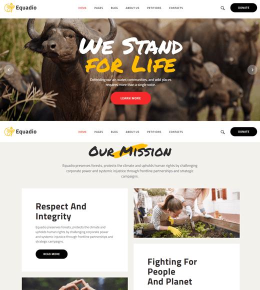Equadio Best WordPress Themes for Nonprofits