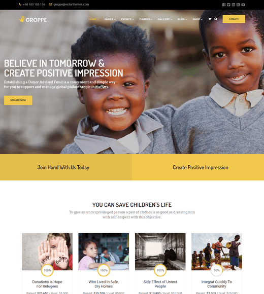 Groppe WordPress themes for non-profit websites