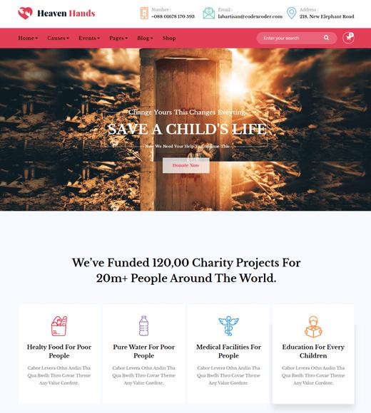 Heaven Hands Charity Theme