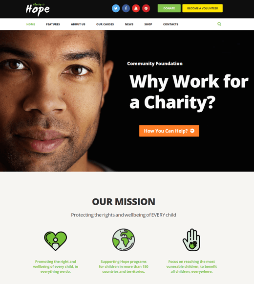 Hope non-profit & charity WordPress themes