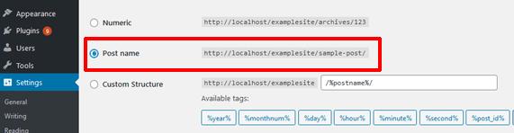 post name permalink settings