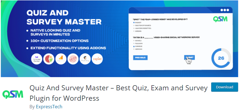 Quiz and Survey Master WordPress Survey Widget