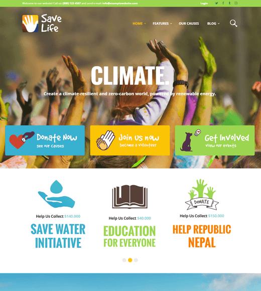 Save Life WordPress Themes for non-profit websites