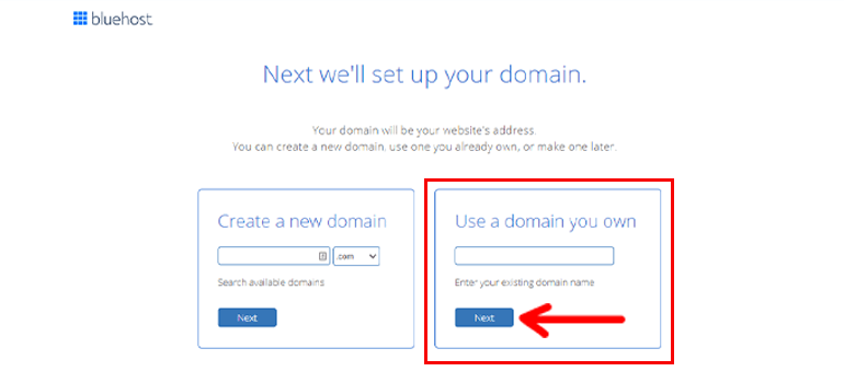 Bluehost Domain Name Button