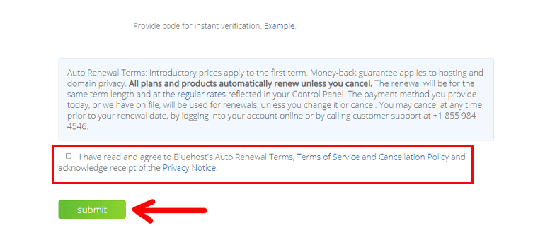 Hosting Submit Button