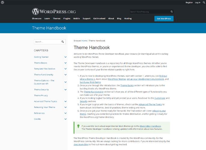 WordPress Support Theme Handbook