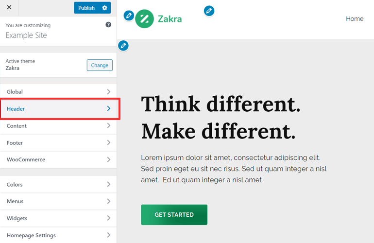 how to edit a header in wordpress