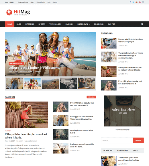 HitMag Free WordPress Magazine Themes with Ad Space