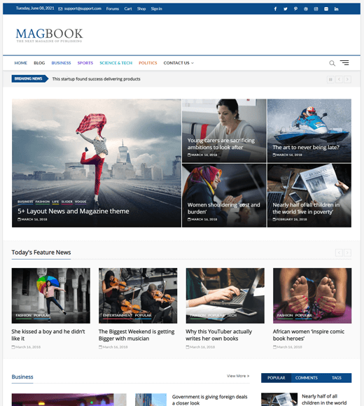 MagBook Magazine Template Free WordPress