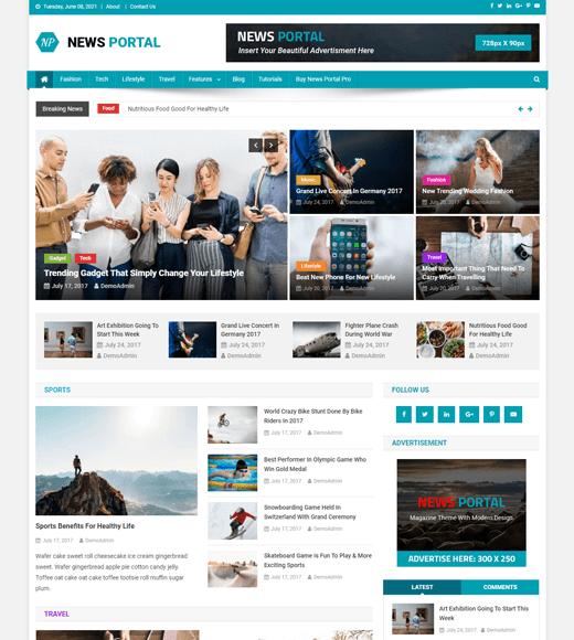 News Portal Magazine Template Free WordPress