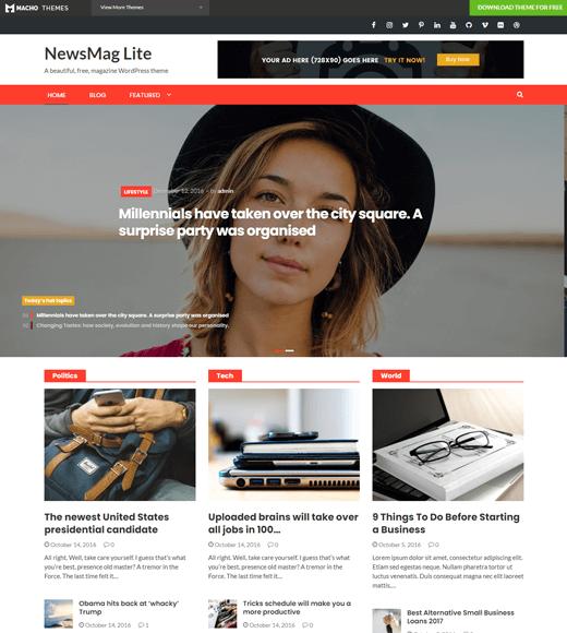 NewsMag Lite Free WordPress Magazine Theme
