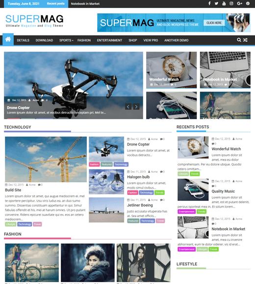 SuperMag Magazine Template Free WordPress