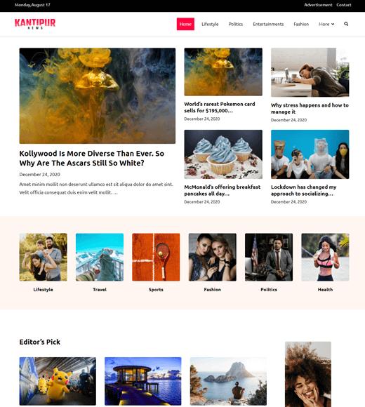 Zakra Kantipur News Magazine Theme